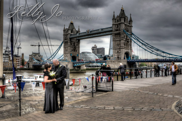 Bride and Groom by Tower Bridge, London