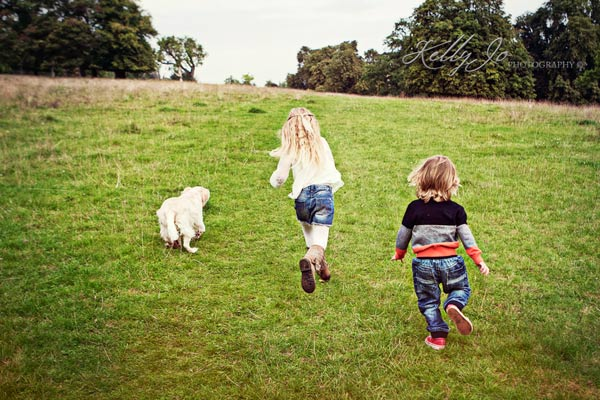Children and Dog's in family portraits Buckinghamshire