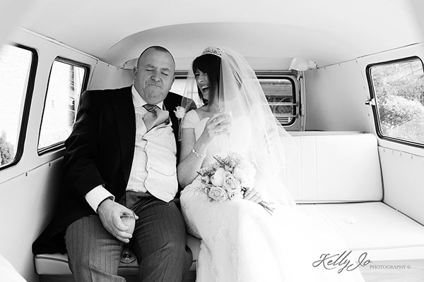 VW Camper Van with Bride and Groom